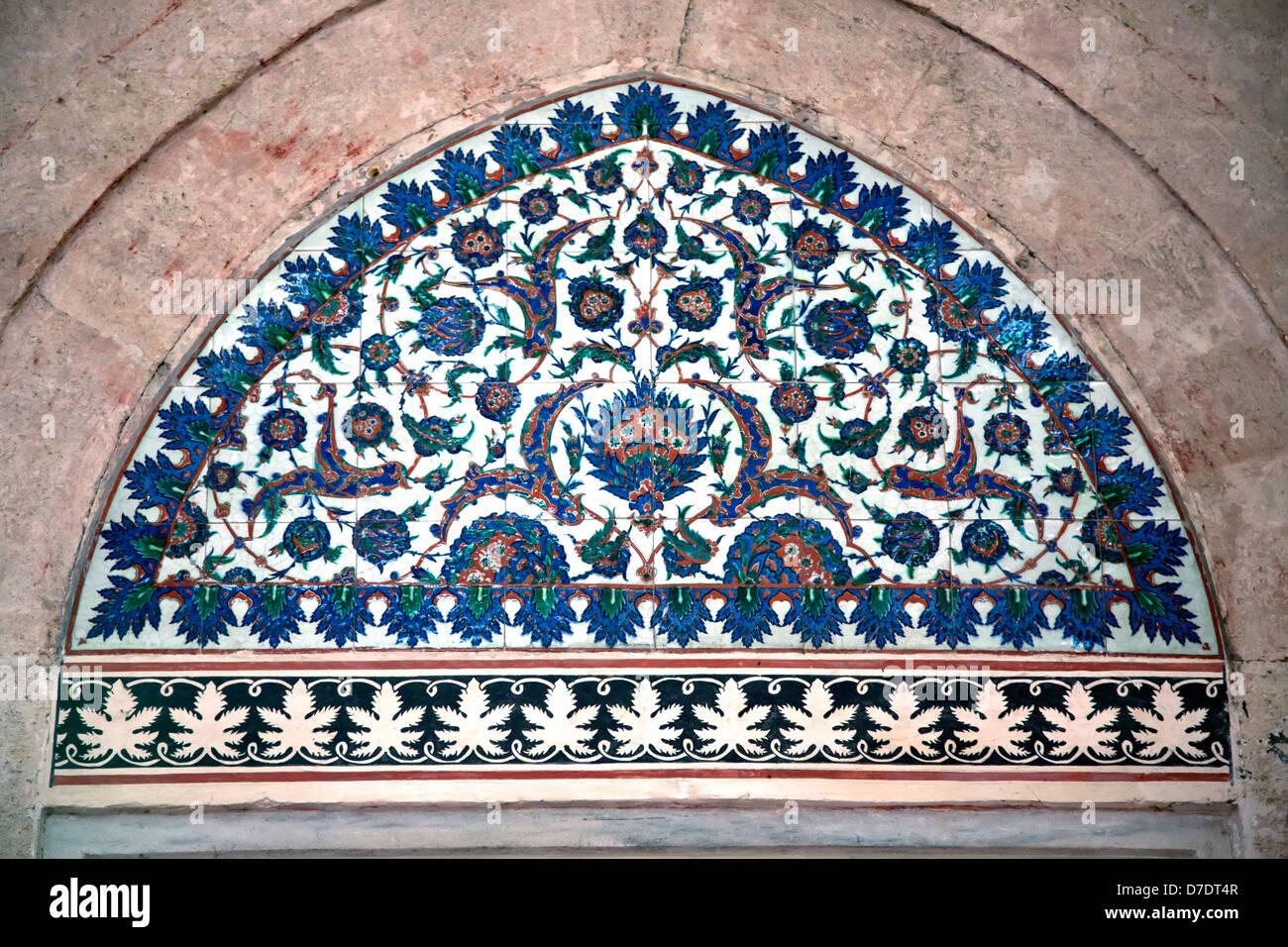 Iznik dettaglio di piastrelle da parete della moschea selimiye