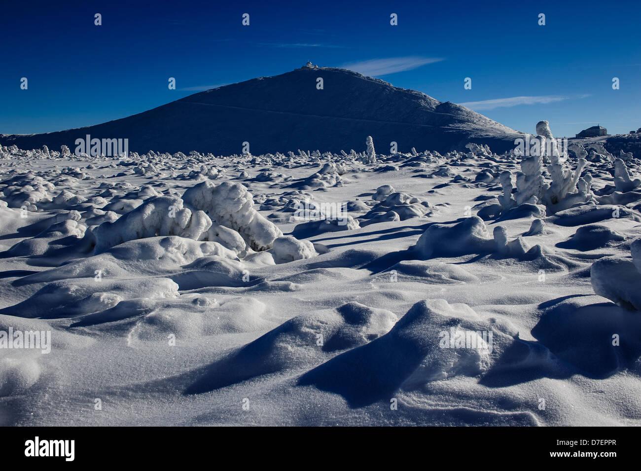 Vista del Sniezka nei monti Karkonosze, Polonia. Immagini Stock