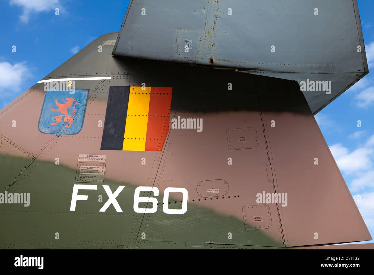 Dettaglio di una repubblica F-105 Thunderchief o tonfo, aviazione belga, Collezione aerei Hermeskeil, Germania, Foto Stock