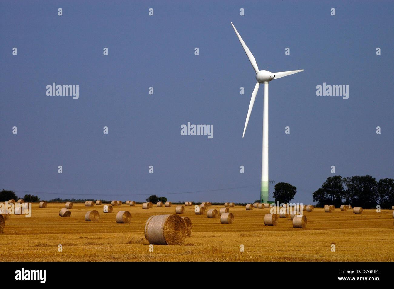 Rügen, turbina eolica, dell'energia eolica Immagini Stock