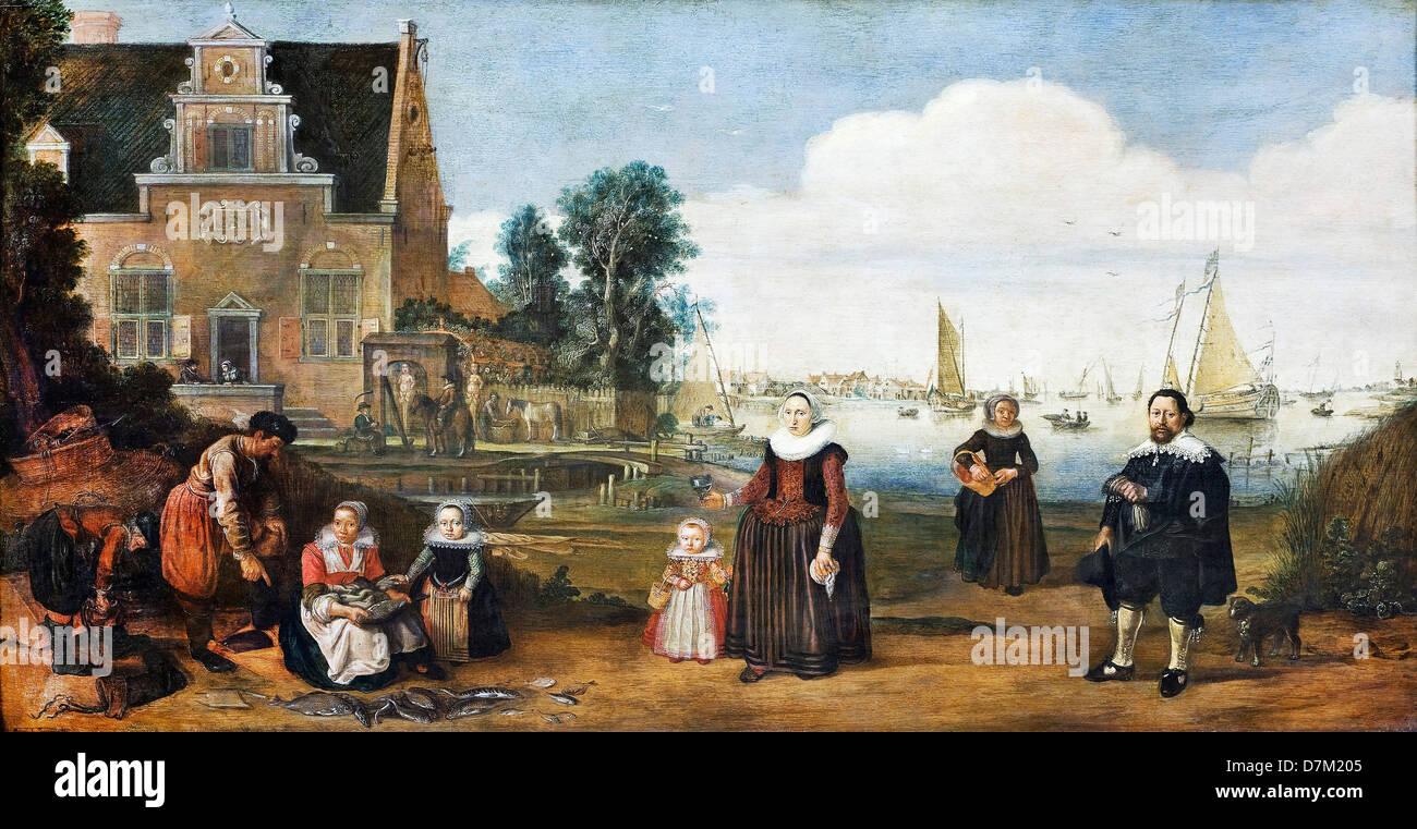 Arent Arentsz, Ritratto di una famiglia. Olio su pannello. Museo Hallwyl, Svezia Immagini Stock