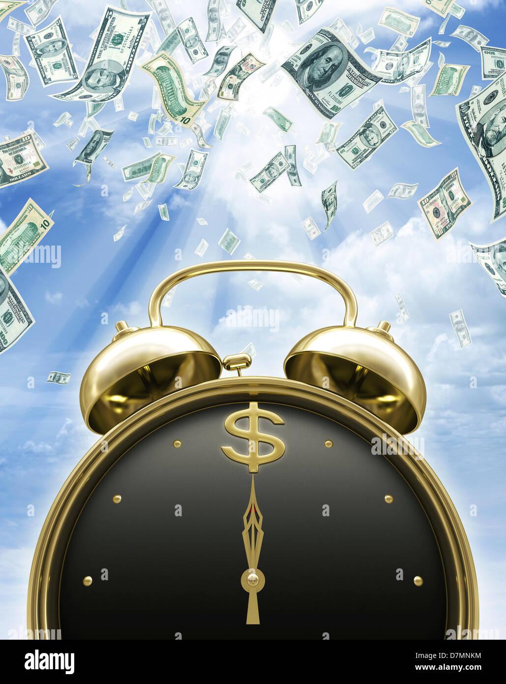 Il tempo è denaro, opere d'arte concettuale Immagini Stock