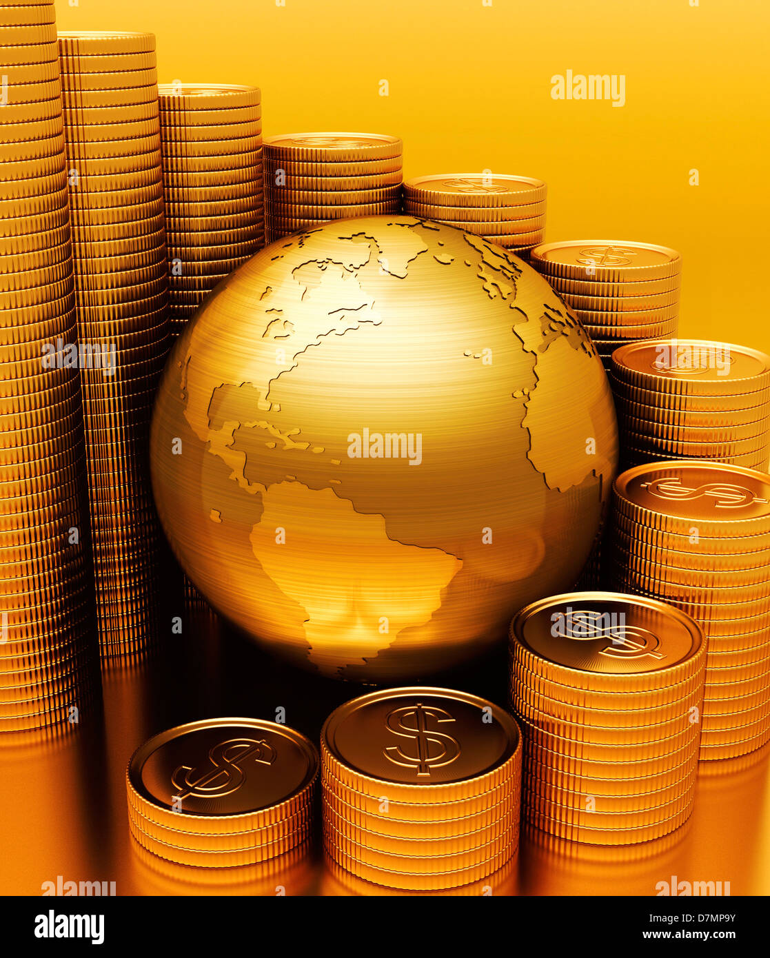 Economia globale, opere d'arte concettuale Immagini Stock