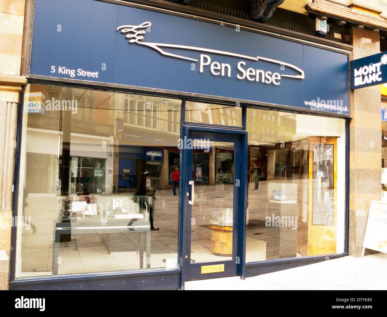 Senso della penna mont blanc pen venditori in King Street Nottingham City Centre Immagini Stock