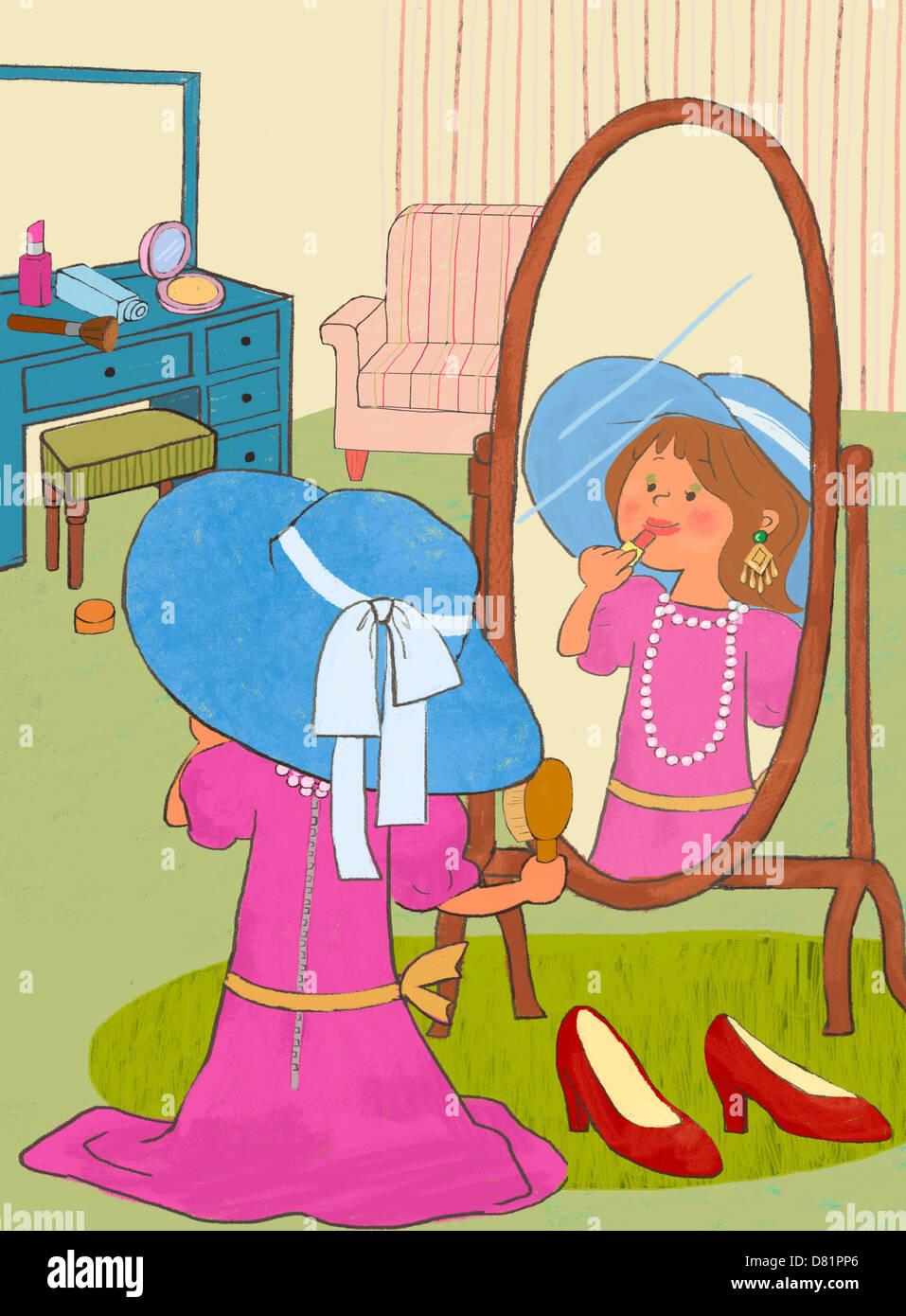 Una illustrazione di un bambino a giocare. Immagini Stock