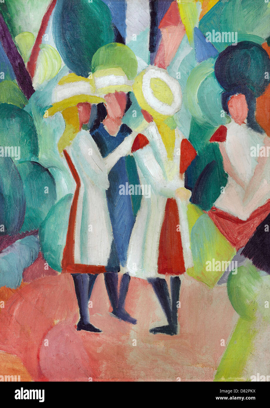 August Macke, tre ragazze in giallo di cappelli di paglia 1913 olio su tela. Gemeentemuseum Den Haagю Immagini Stock