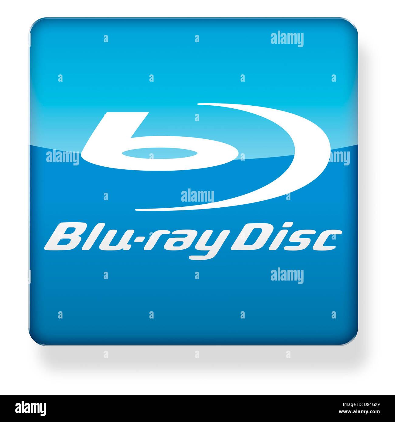 Blu ray Disc logo come l'icona di un'app. Percorso di clipping incluso. Immagini Stock