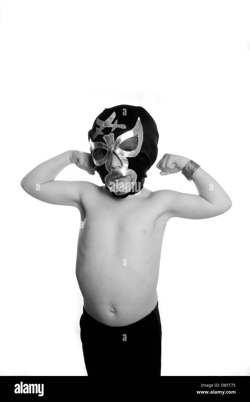 Wrestler messicano luchadore bambino Foto Stock