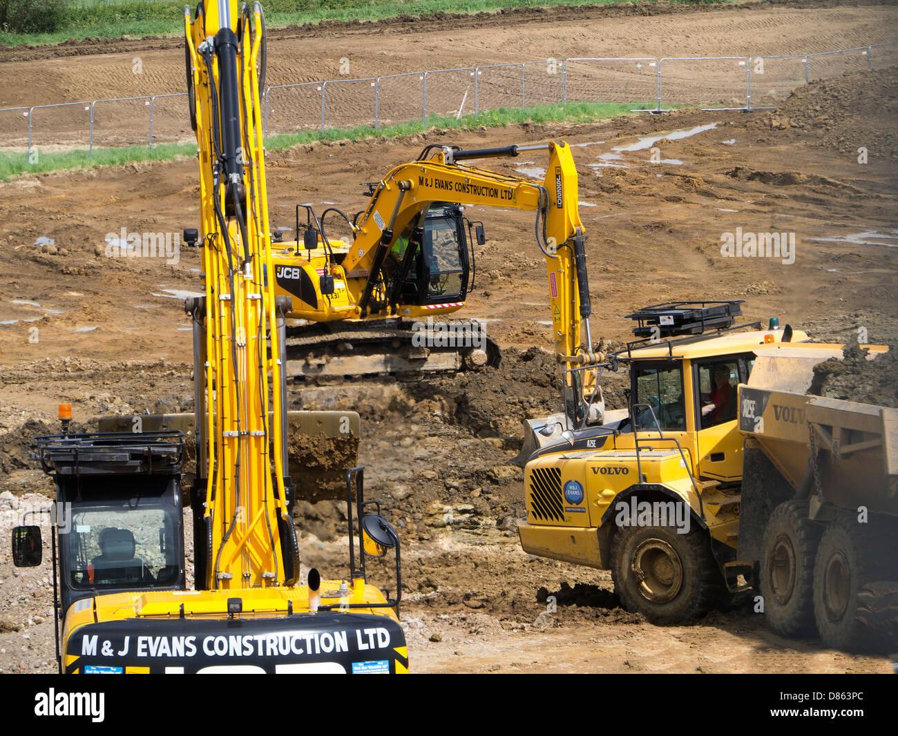 Pesanti macchine movimento terra per la preparazione di terreni rurali per l'alloggiamento di sviluppo, Grantham, Immagini Stock