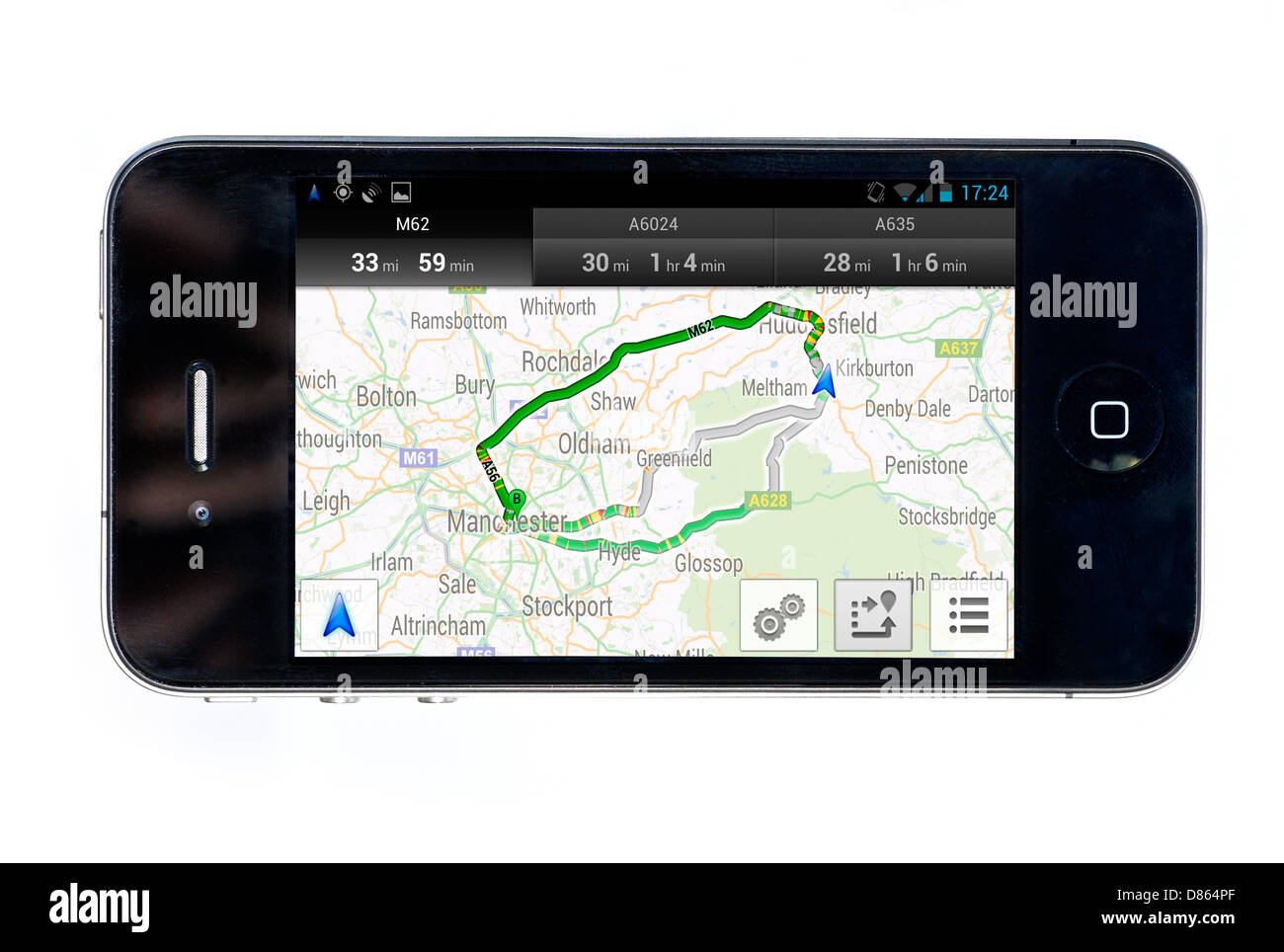 Navigazione di Google su un Apple iPhone 4 smartphone, REGNO UNITO Immagini Stock