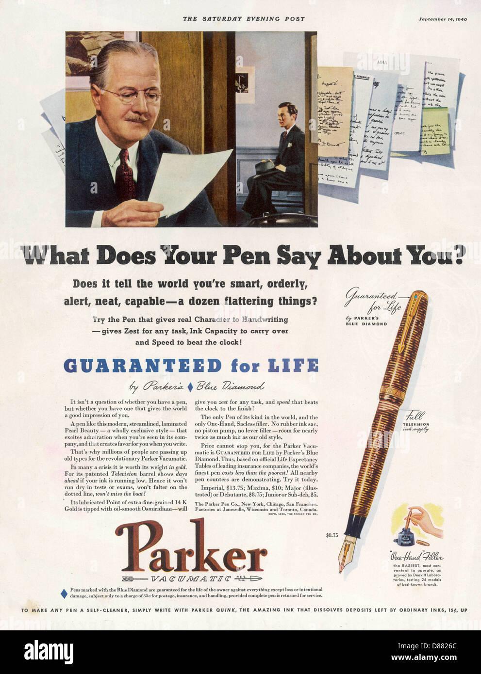 Annuncio penne Parker 1940 Immagini Stock