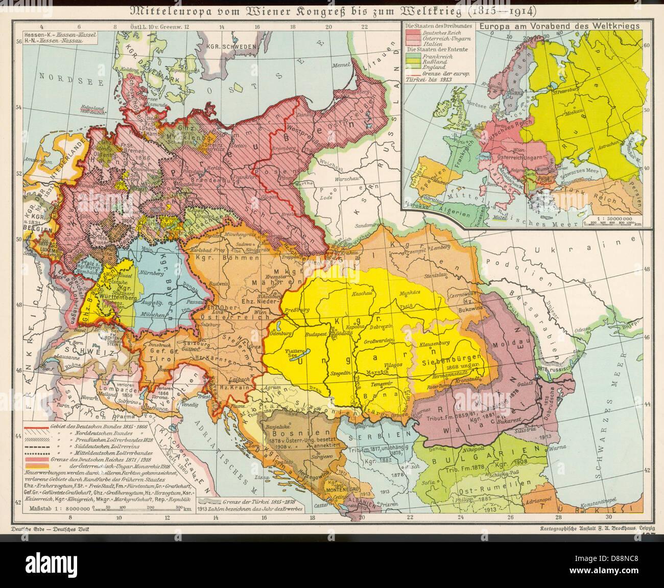 Cartina Europa 1860.Il Centro Europa Mappa Foto Immagine Stock 56740776 Alamy