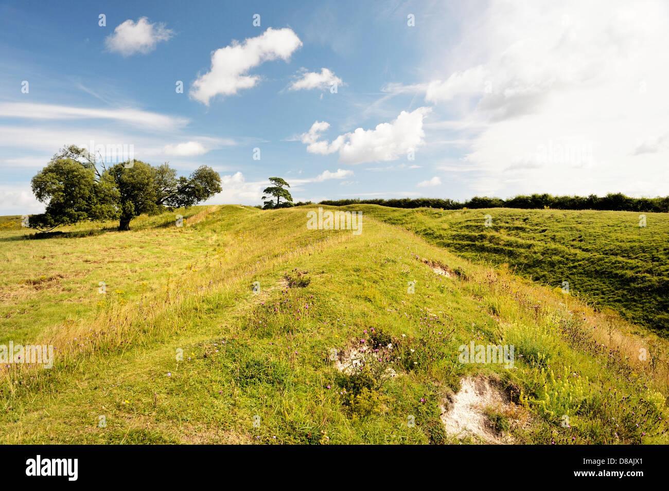 Warham Camp Età del Ferro hill fort. La sezione del massiccio difensiva banca doppio e il fossato. Più Immagini Stock