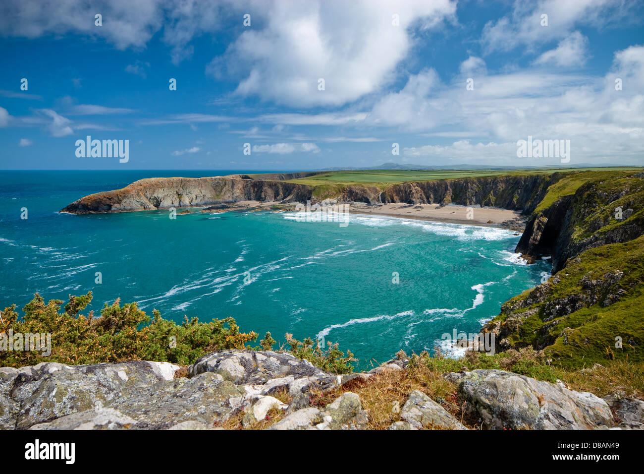 Sentiero costiero con Traeth Llyfn in background Abereiddy Saint Davids Pembrokeshire Wales Immagini Stock