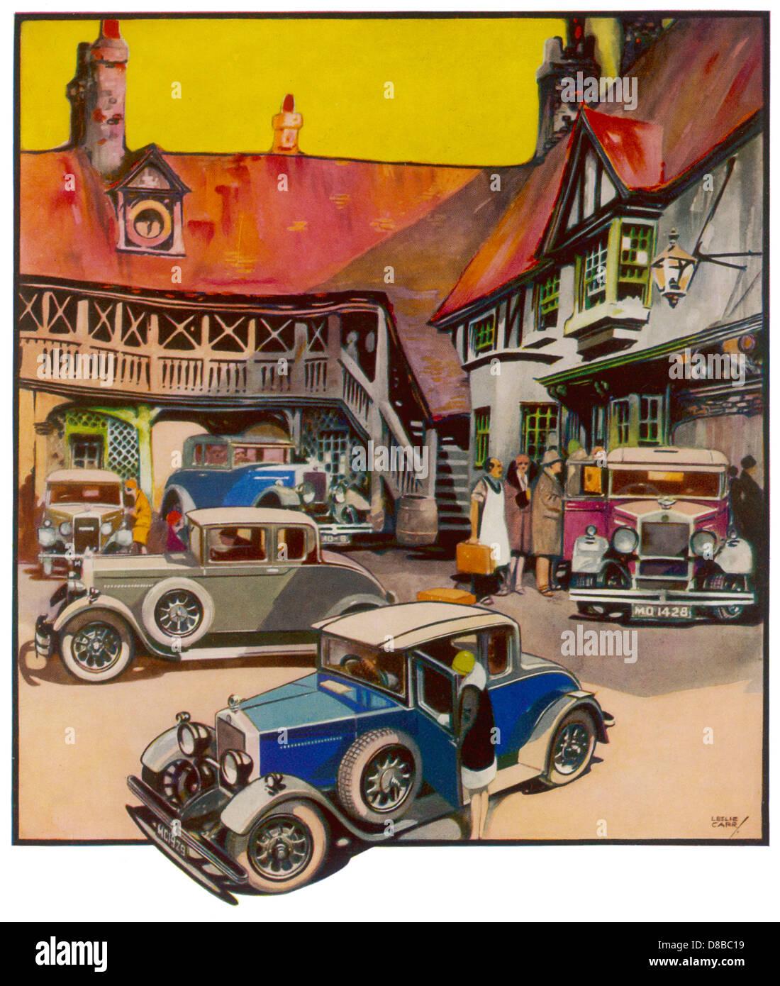 Scena motoristica 1930 Immagini Stock