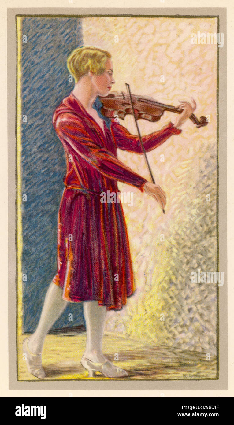 Donna con violino 1930 Immagini Stock