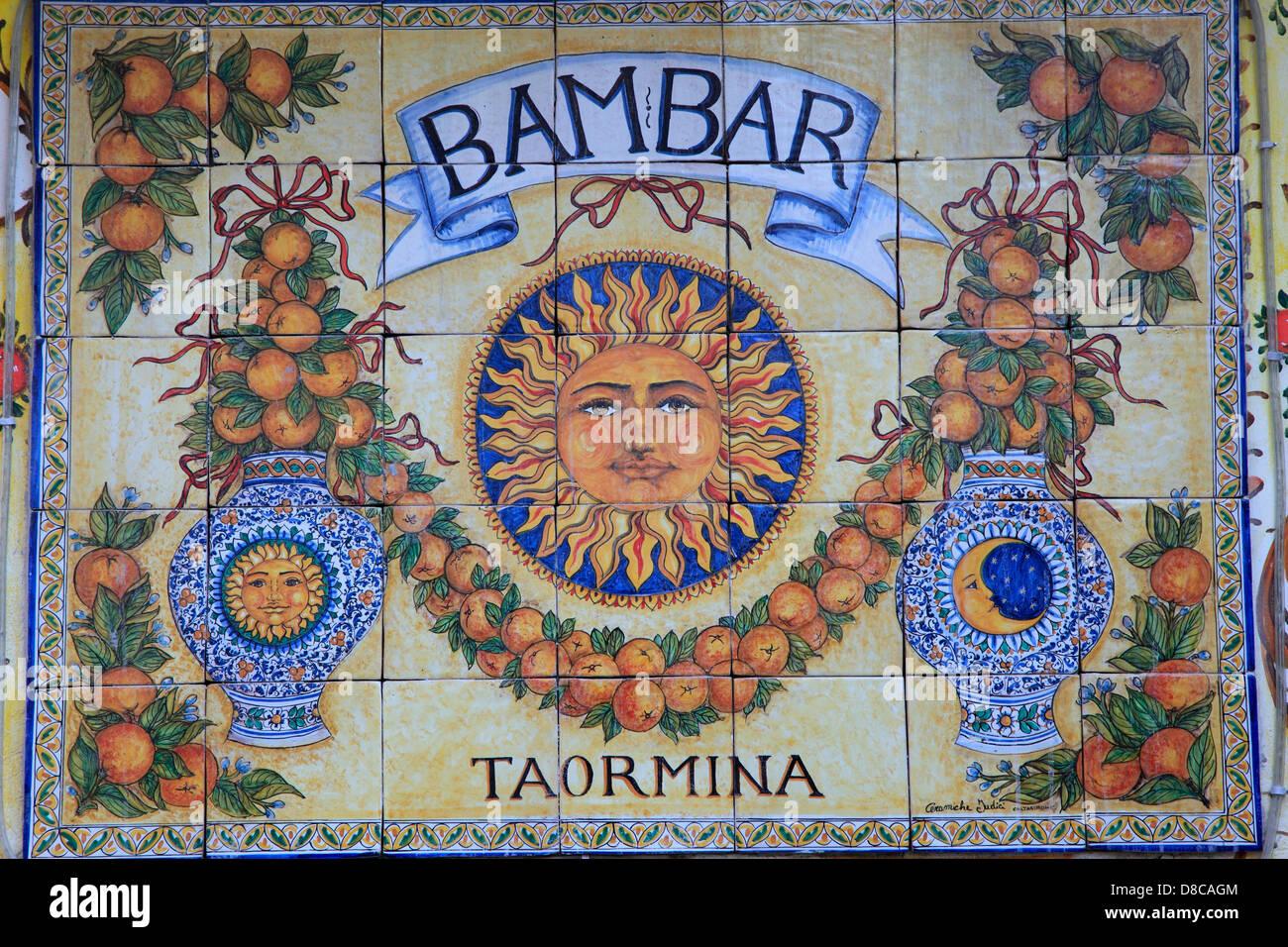 Litalia sicilia taormina piastrelle in ceramica shop segno foto
