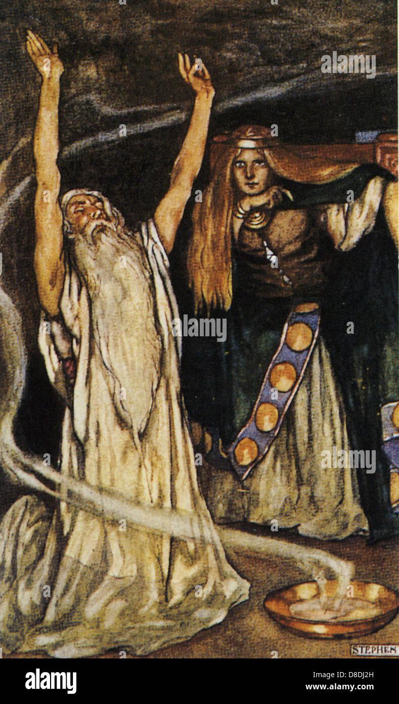 CU CHULAININ mitologico guerriero Irtish illustrato da Stephen Reid in Eleanor dello scafo 1910 prenota i Boys' Immagini Stock