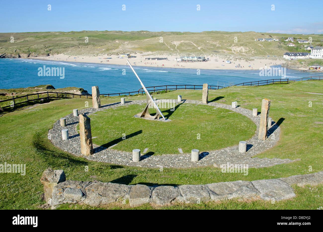 Il ' millenium meridiana ' al punto Droskyn, Perranporth, Cornwall, Regno Unito Immagini Stock