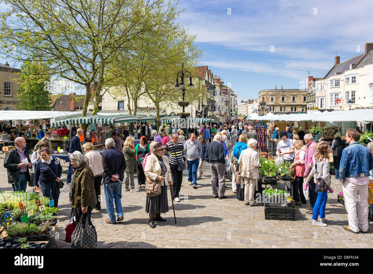 Mercato degli Agricoltori in pozzetti, Somerset, Inghilterra, Regno Unito Foto Stock