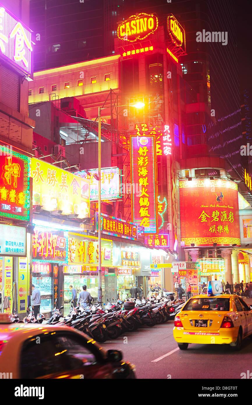 Macau street presso la sera. Immagini Stock