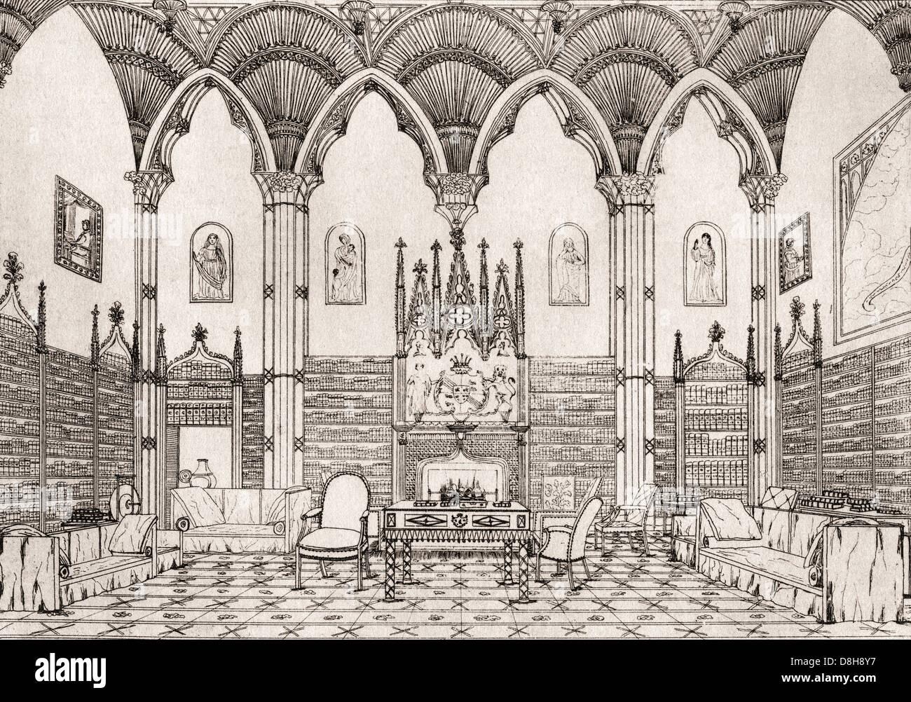 Welbeck Abbey, Nottinghamshire, Inghilterra. La Sala Gotica nel 1821. Immagini Stock