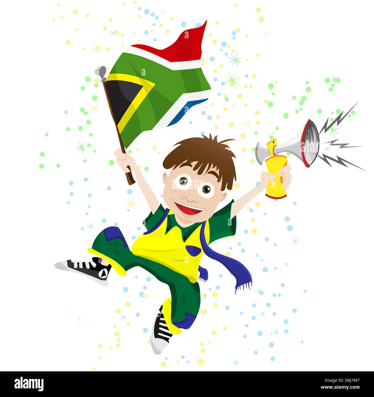 Vettore - Sud Africa Sport ventola con bandiera e avvisatore acustico Foto Stock