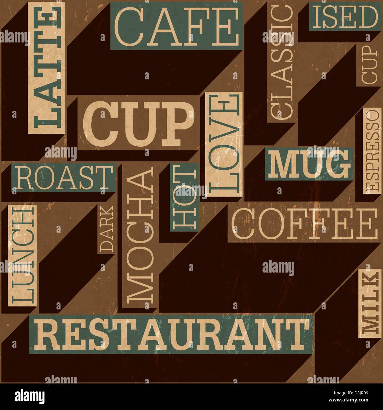 Il caffè a tema retrò seamless sfondo, Immagini Stock