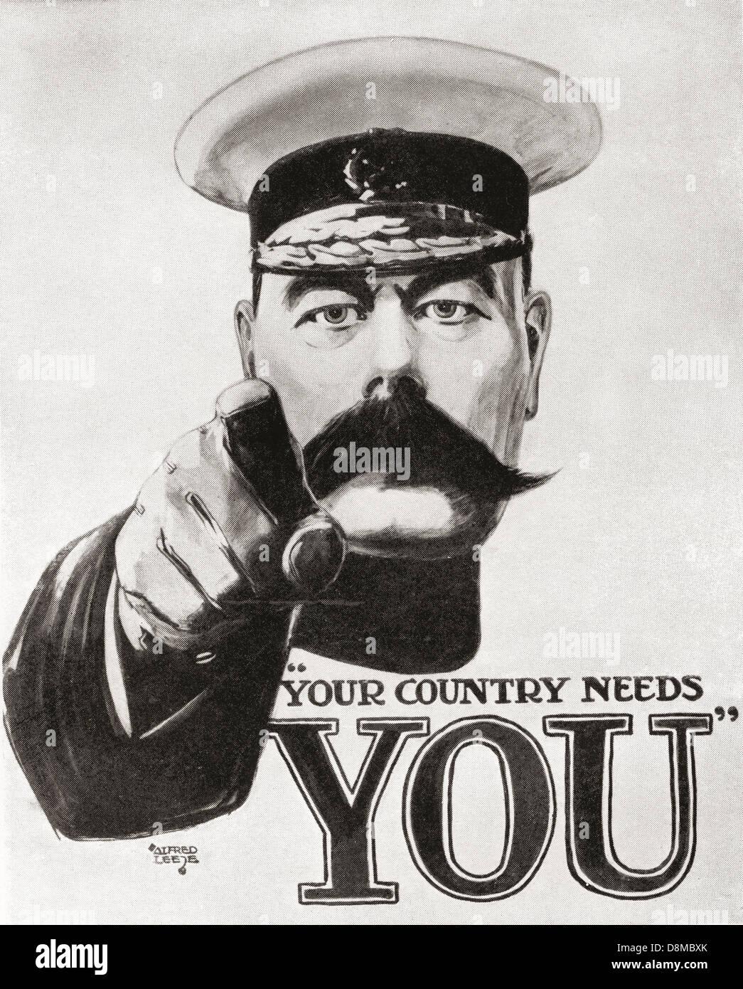 Il vostro paese ha bisogno di voi. famosa kitchener guerra mondiale un poster di assunzione. Immagini Stock