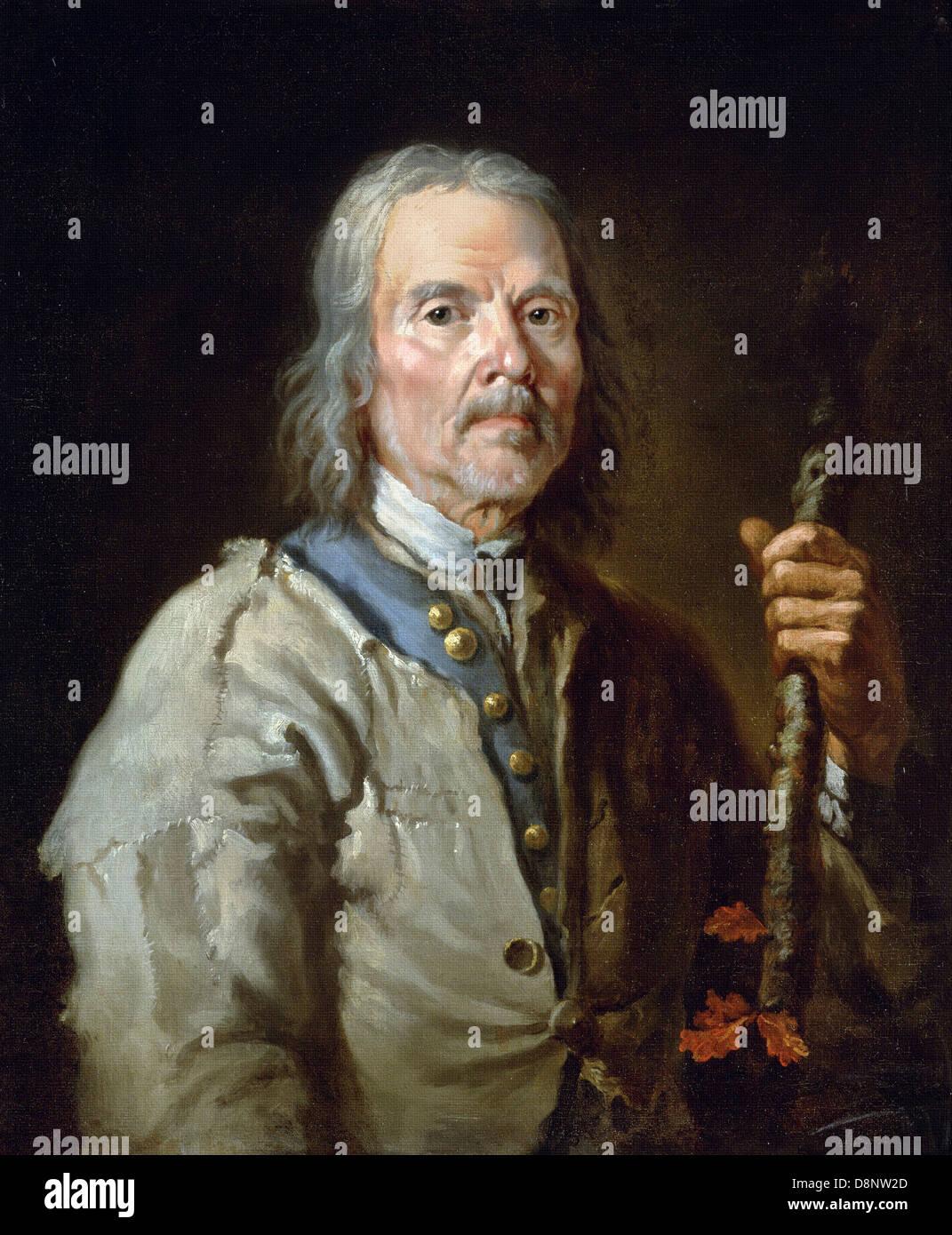 Thomas Barker, uomo tenendo un personale. 1800. Olio su tela. Yale Center per British Art di New Haven, Connecticut, Immagini Stock