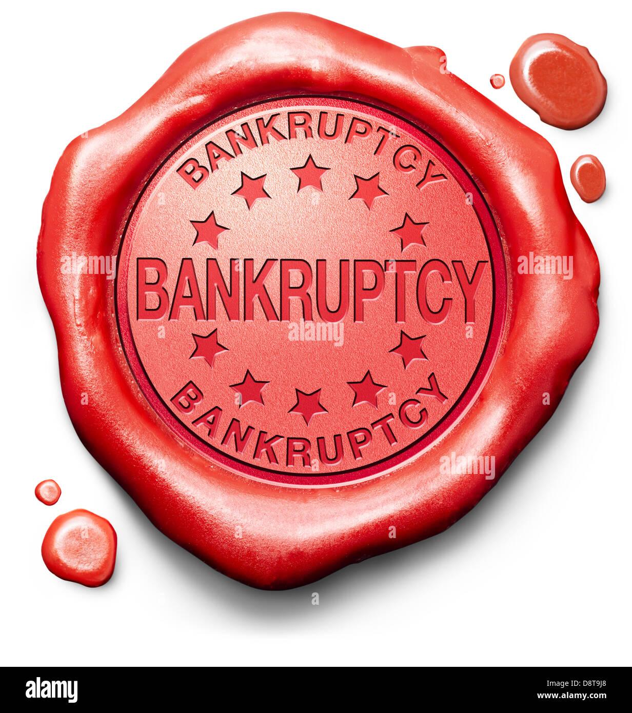 Diritto fallimentare o corte aziendale o personale avviso di fallimento del debito red label icona o timbro Immagini Stock