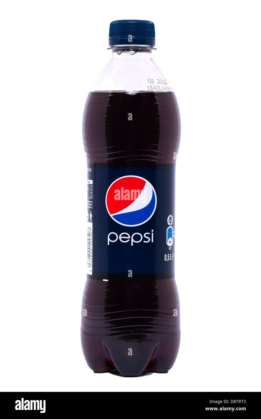 Una bottiglia di Pepsi Cola su sfondo bianco Immagini Stock
