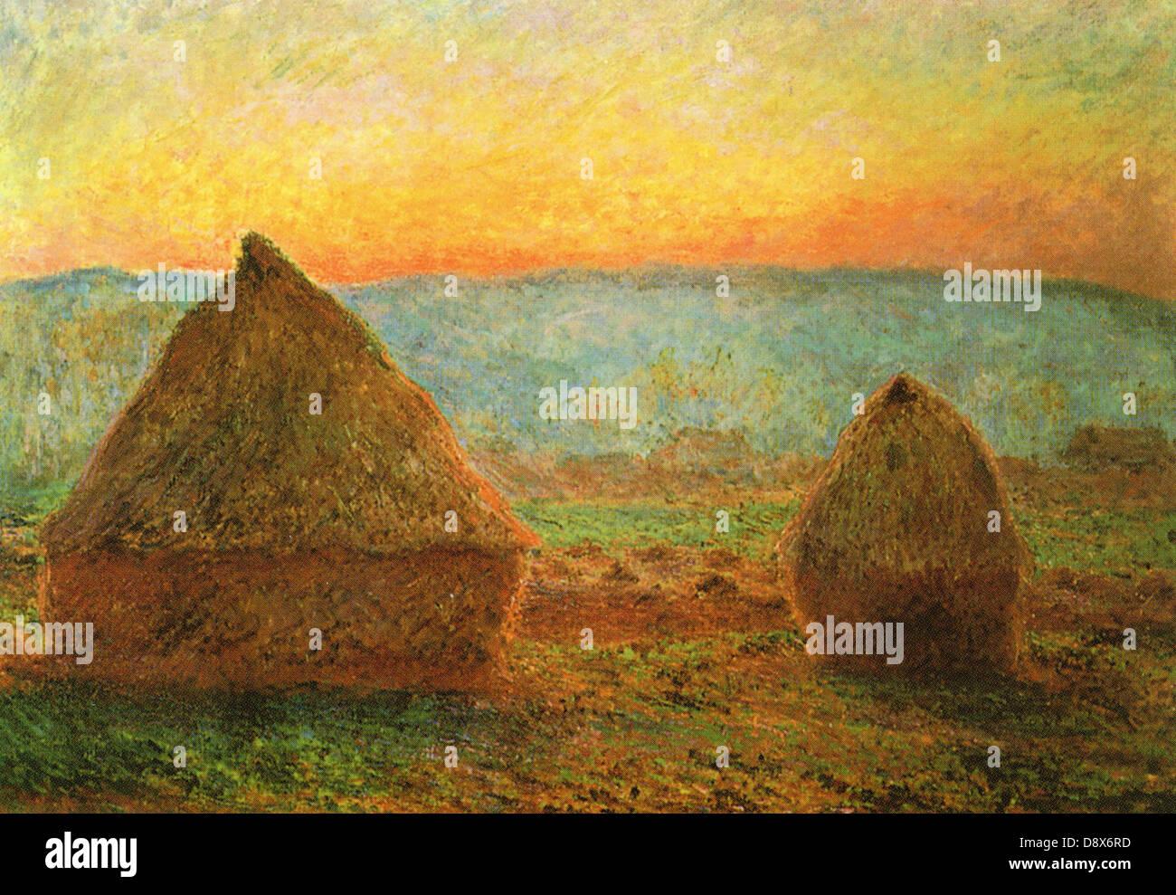 Haystacks (c. 1890) dal pittore impressionista, Claude Monet - solo uso editoriale. Immagini Stock