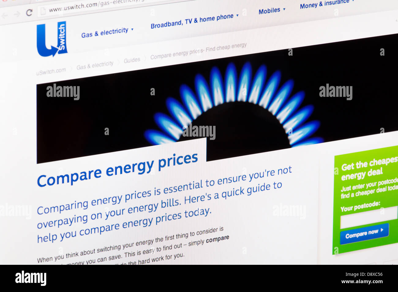 USwitch confrontare l'energia il confronto dei prezzi Sito Web o una pagina web su uno schermo di computer portatile Immagini Stock