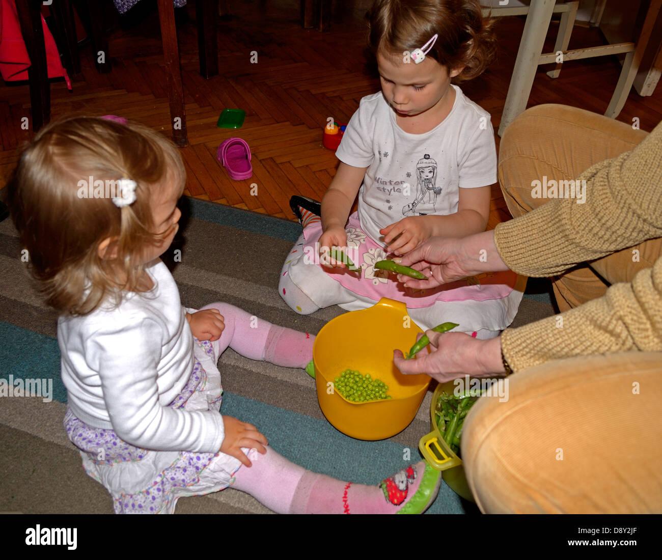 Nonna e bambine (4 e 2 anni) piselli da sgranare a casa Immagini Stock baac23af7e