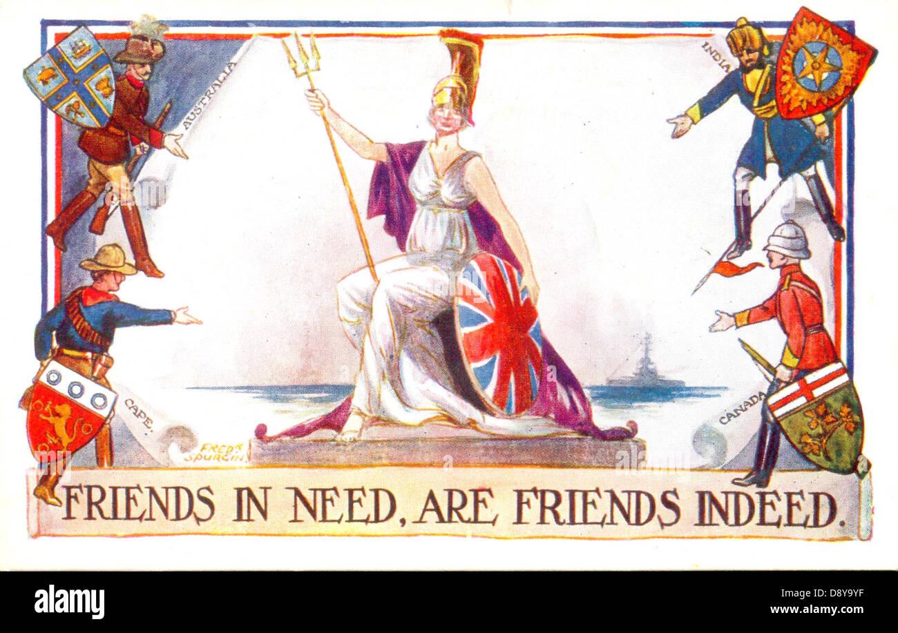 La guerra mondiale una cartolina patriottica di Britannia con il suo impero amici Immagini Stock