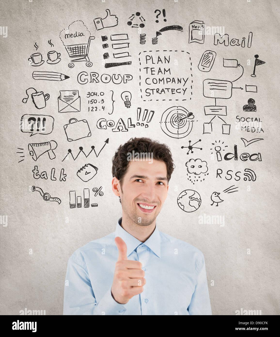 Imprenditore di successo con disegnati a mano intorno le icone che simboleggiano il successo di lavoro, pianificazione, Immagini Stock