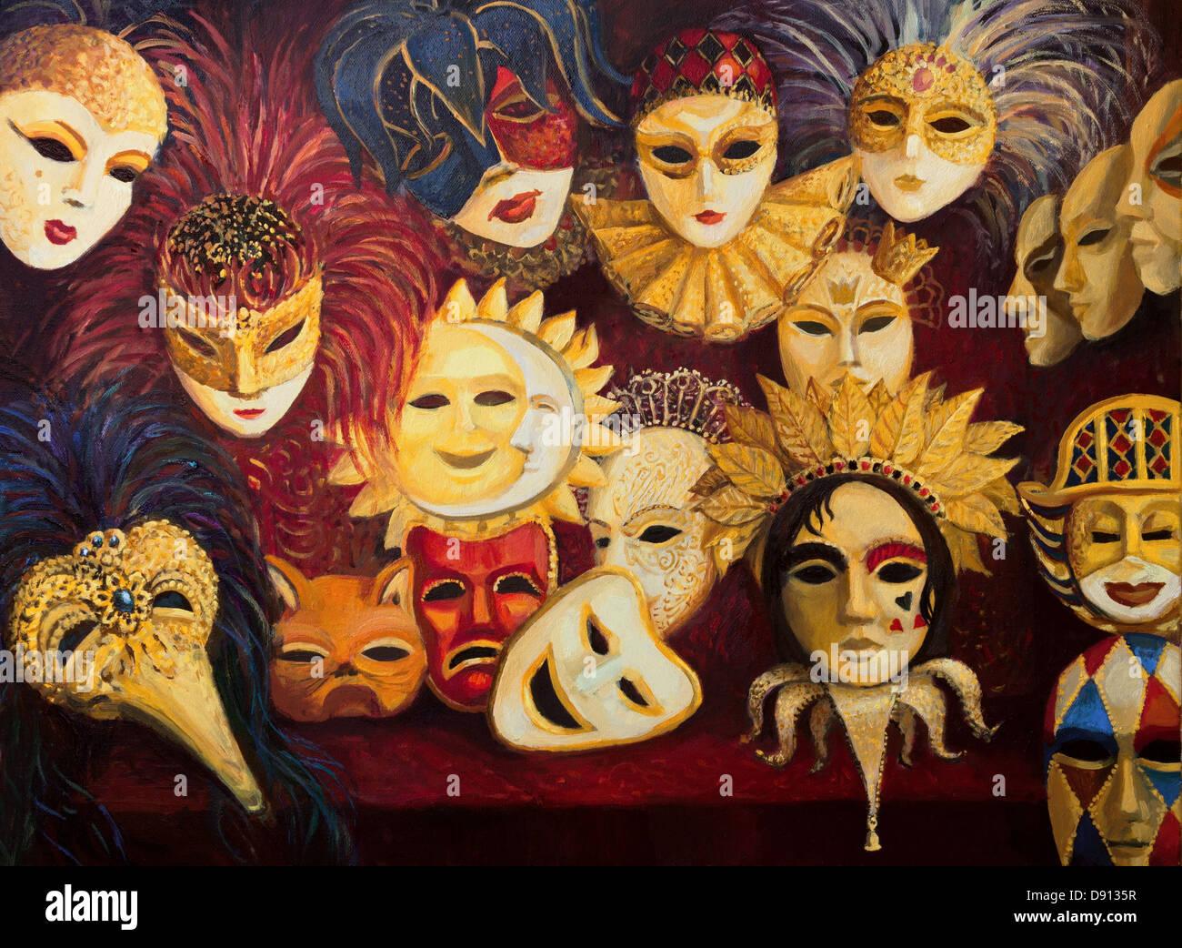 Un dipinto ad olio su tela di un colorato ornati tradizionali maschere veneziane sul display, sopra un rosso scuro Immagini Stock