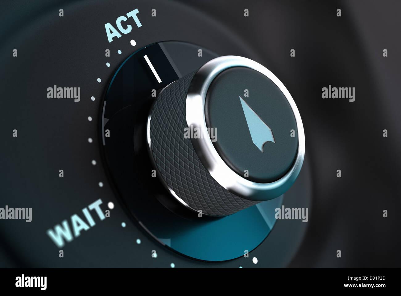 Pulsante di decisione con le parole di attendere e di agire, pulsante freccia rivolta alla parola azione. 3D render, Immagini Stock