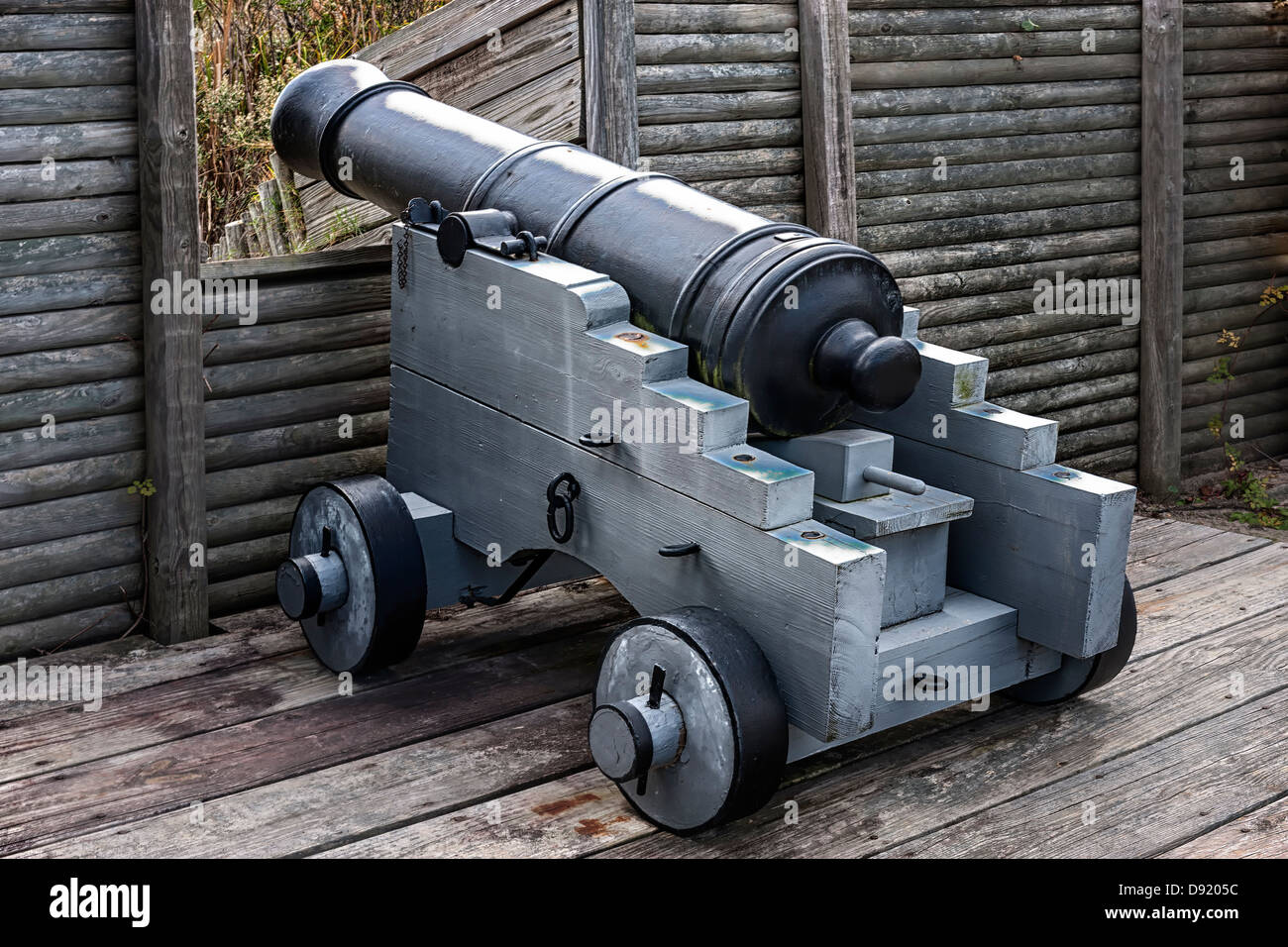 Una pistola emplacement a Fort King George, Darien Georgia Immagini Stock