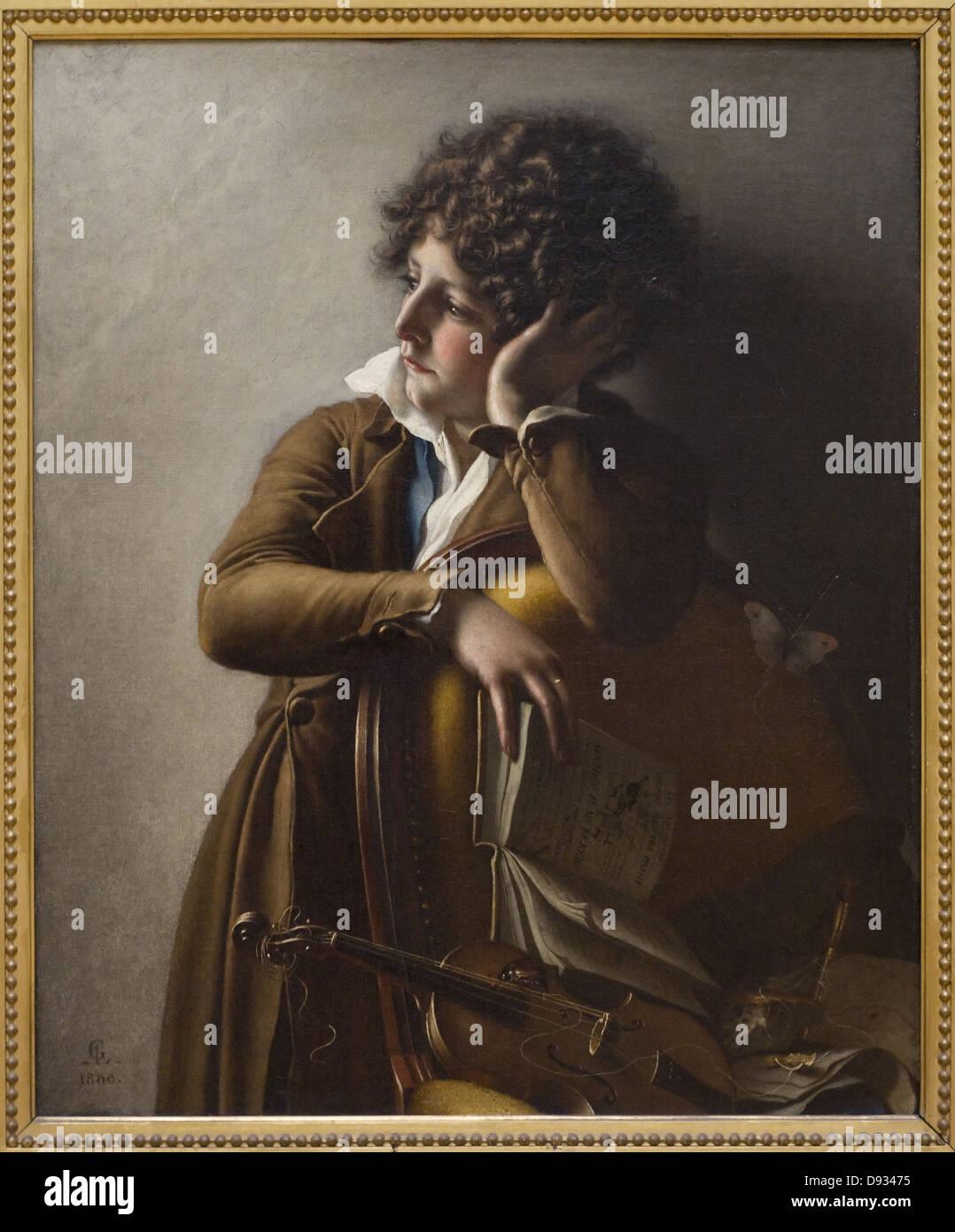 Anne-Louis Girodet de Roussy-Trioson 1800 Ritratto d'enfant - Ritratto di bambino Scuola di francese al museo Immagini Stock