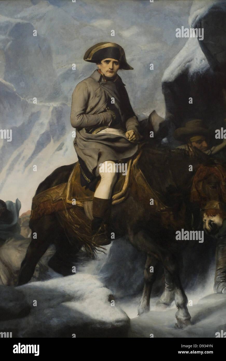 Paolo Delaroche Bonaparte franchissant les Alpes en 1800 - Bonaparte attraversamento delle Alpi nel 1800 retail Immagini Stock