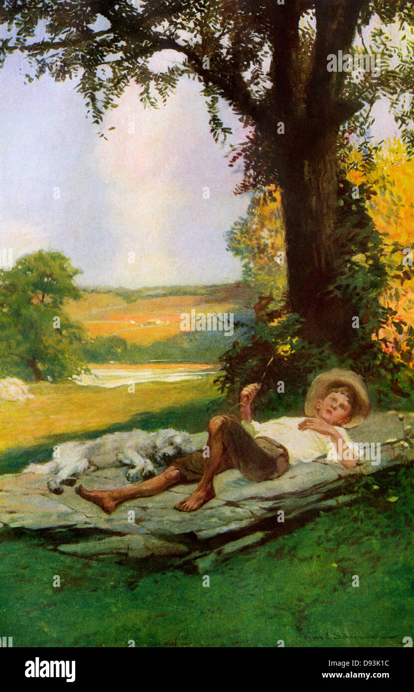 Ragazzo che giace sotto un shade tree con il suo cane a pelo, primi 1900s. Stampare mezzitoni di colore di una immagine Foto Stock