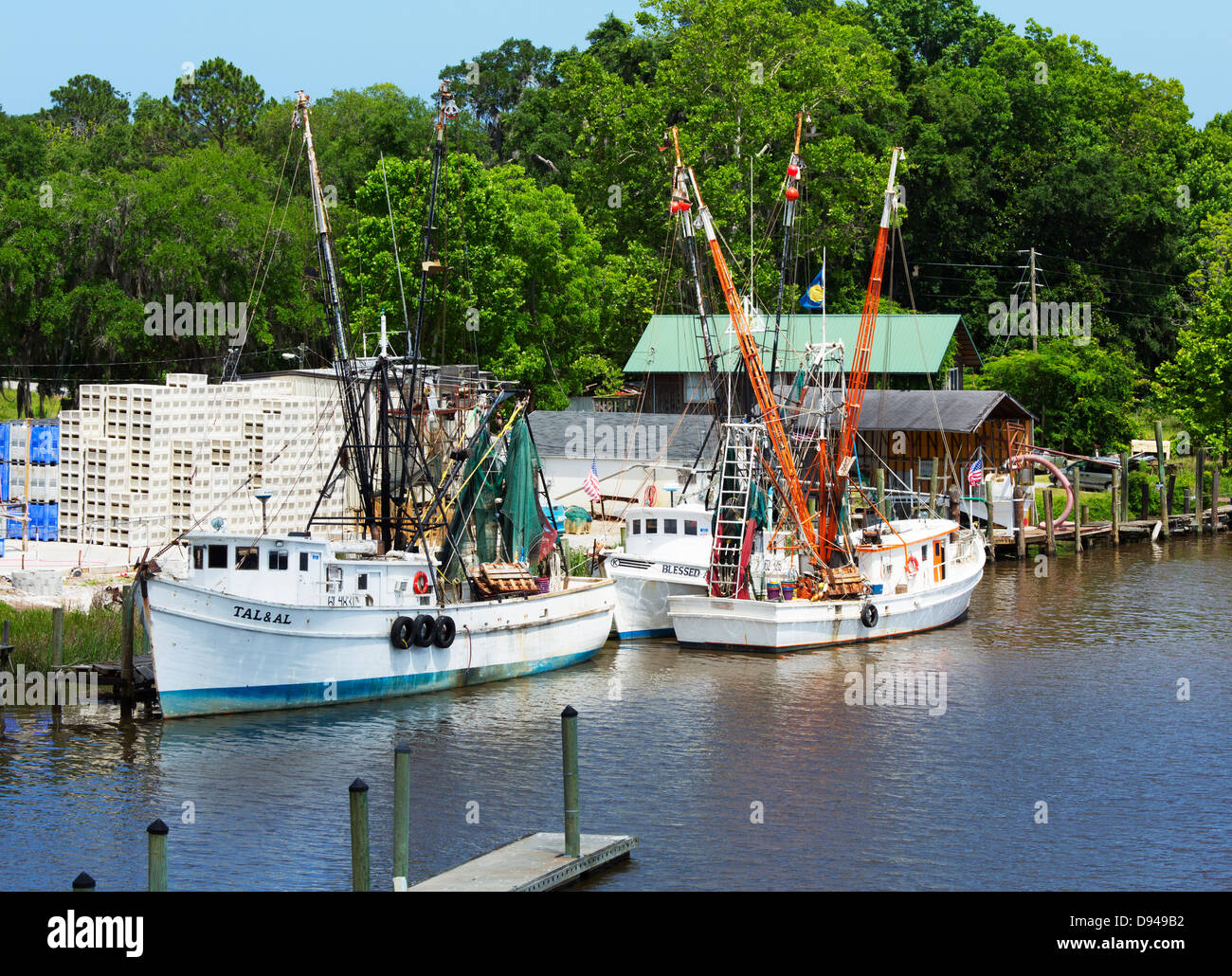 Darien waterfront e gamberetti flotta barca Immagini Stock