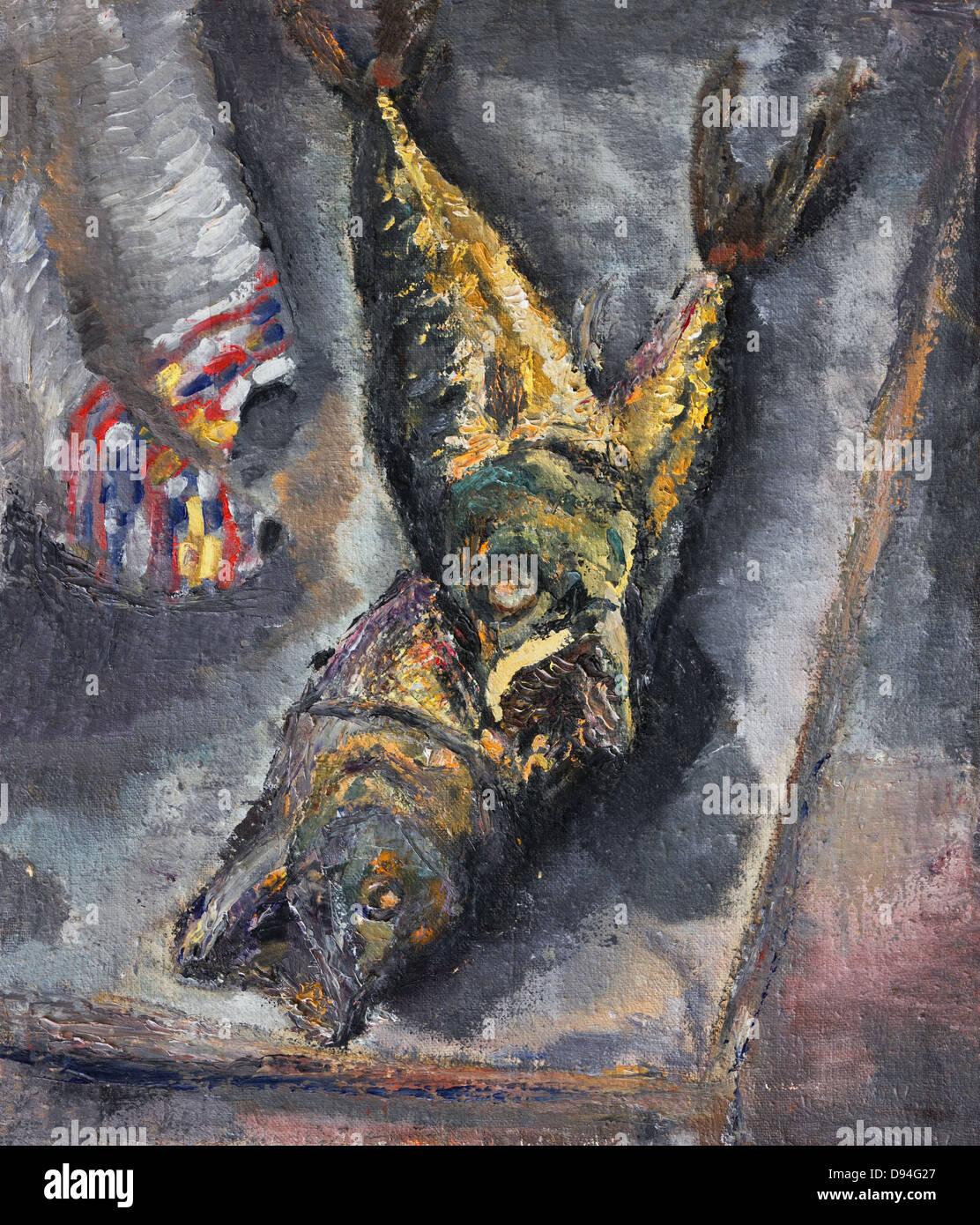 Un dipinto ad olio su tela di una vita ancora con il pesce su una tabella di colore grigio. Dopo la pesca di illustrazioni Immagini Stock