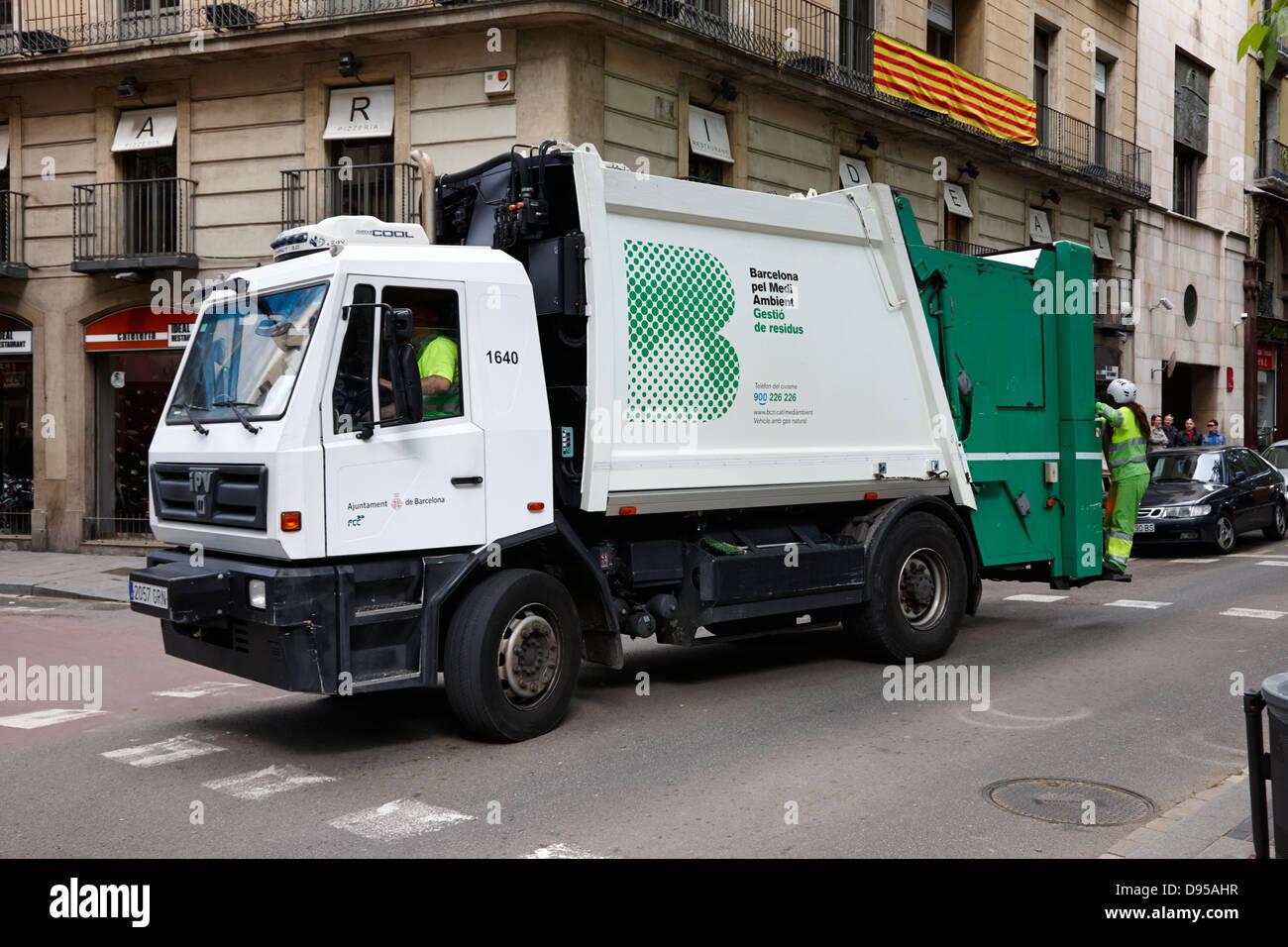 Barcellona pel medi ambient gestio de residus smaltimento dei rifiuti veicolo Catalogna SPAGNA Immagini Stock