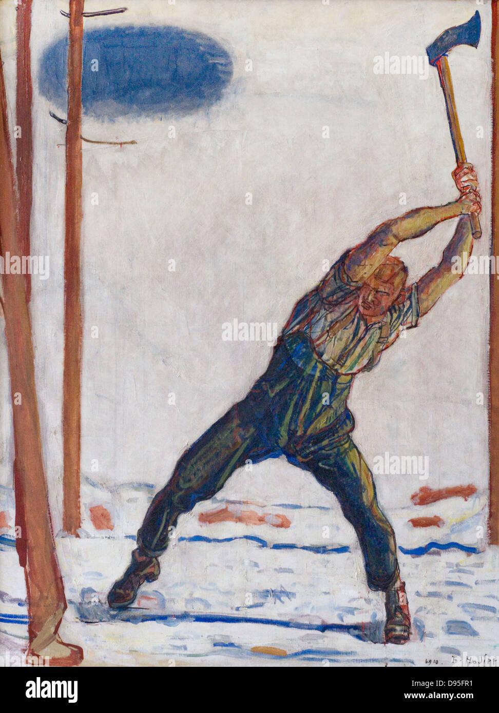 Ferdinand Hodler Le Bûcheron (Der Holzfäller) 1910 XX secolo Olio su tela Museo Orsay - Parigi Immagini Stock