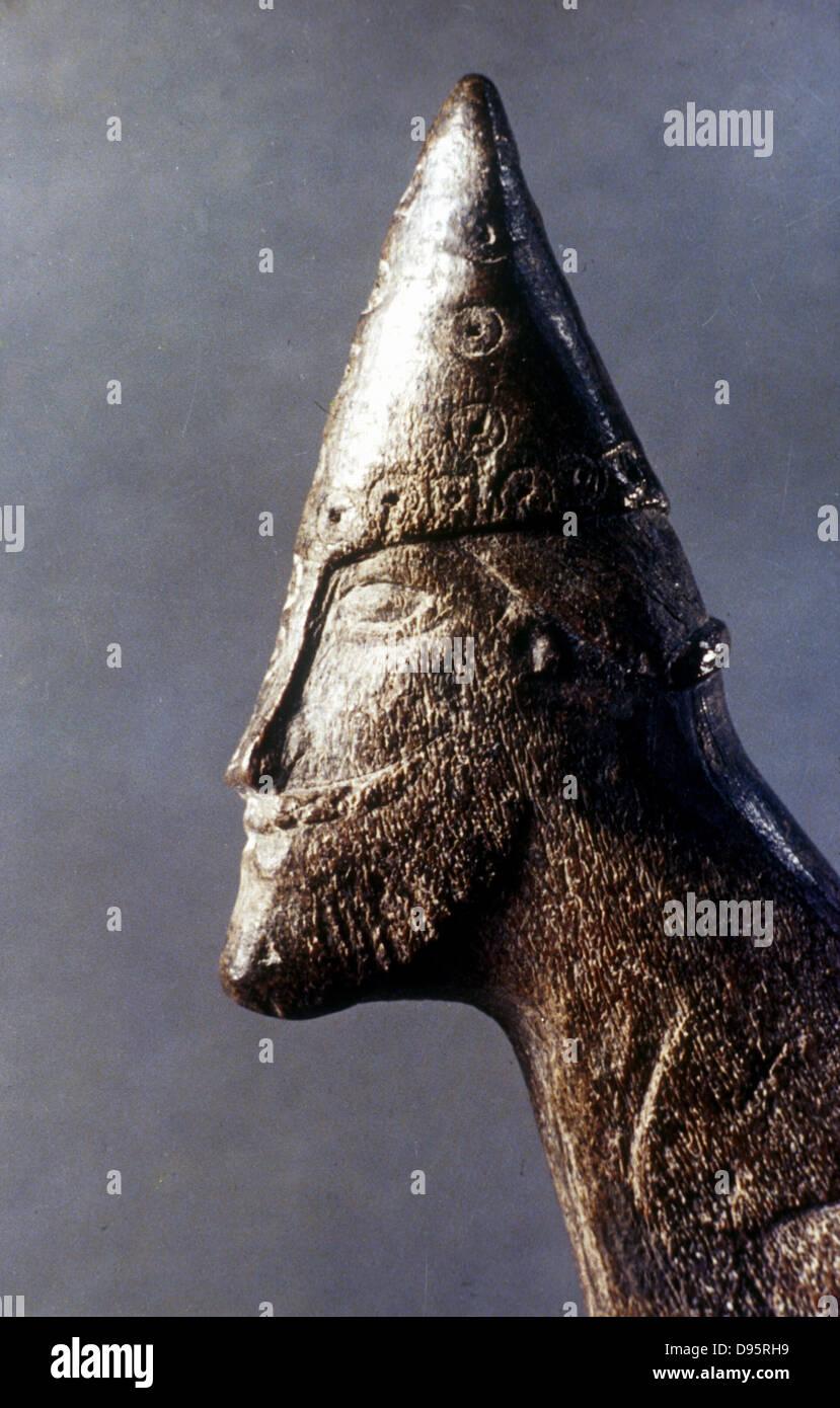 Testa di un guerriero vichingo. Museo Storico Nazionale, Stoccolma. Immagini Stock