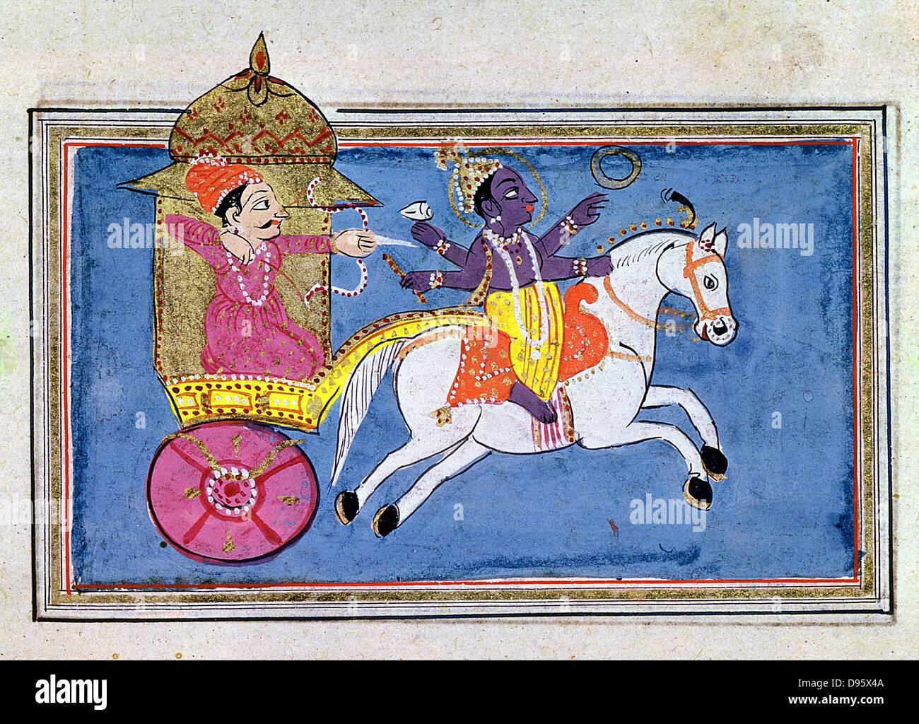 Krishna, divinità Indù, un avatar di Vishnu. Il XVII secolo l'illustrazione per il poema epico 'Mahabharata' Immagini Stock