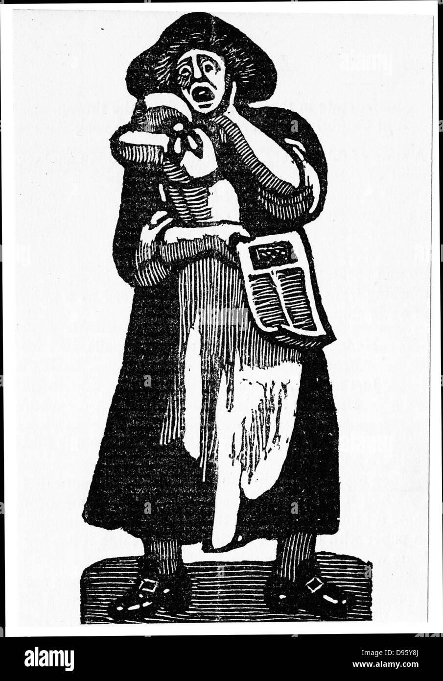 Peddler femmina stampati di vendita di ballate di strada. Xvii secolo Londra. Immagini Stock